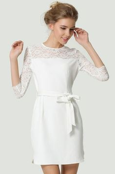 White Contrast Lace Long Sleeve Belt Dress