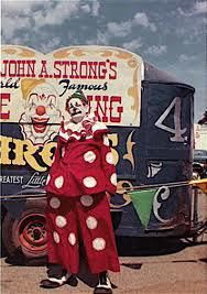 The greatest little circus on earth. The name of this clown is unknown to me.