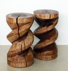 Spiral Zig Zag Stool Stand Or End Table 12 D x 22 in H Light Teak Oil Beautiful Thai hand carved furniture new for 2012 at Kan Thai Decor . . . Our Spiral Zig Zag Style stands work great as small End Tables where space is a concern! $209.00