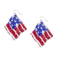 Stars and Stripes Mesh Flag Drop Earrings   Claire's