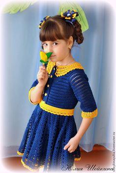 Купить Платье крючком, вязаное платье, платье для девочки - детское платье, детское платье крючком