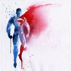 Superman Watercolor Art Print