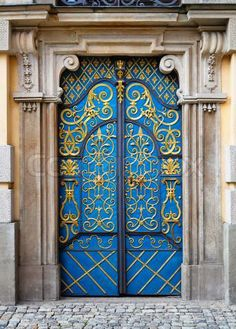 'Ornamented Entrance door to University building, Wroclaw, Poland'