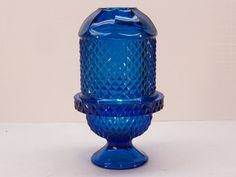 Vintage Viking Glass Glimmer Peacock Blue Diamond Point Fairy Lamp by GarageSaleGlass, $39.99