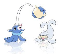Popplio, Spheal, and Seel