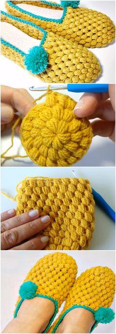 Knitting Patterns Slippers Learn To Crochet Beautiful Slippers Crochet Diy, Crochet Boots, Love Crochet, Learn To Crochet, Crochet Crafts, Crochet Clothes, Crochet Projects, Beautiful Crochet, Crochet Ideas