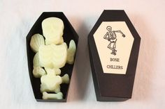 Skeleton Candle Tarts, Halloween Candle Melts, Bone Chiller Coffin with Bone Tarts, Halloween Candle Melts Decoration, Fall Decoration, Scented in Bone Chiller