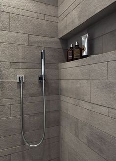 Detail of shower with gray tile in stone look, niche for care products - Dusche - Bathroom Decor Bathroom Tile Designs, Bathroom Design Small, Bathroom Interior Design, Modern Bathroom, Master Bathroom, Bathroom Ideas, Asian Bathroom, Bathroom Remodeling, Kitchen Interior