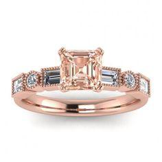 #14k #Rose #Gold #Amara #Asscher #Cut #Morganite #And #Diamond #Baguette | Etsy #14k #morganite #ring #18k #morganite #ring #rose #gold #engagement #wedding #ring #engagement #ring #morganite #wedding #rose #gold #morganite #morganite #ring #morganite #engagement #ASSCHER #CUT #prong #setting #beaded #milgrain #high #profile #setting Baguette Ring, Baguette Diamond Rings, Stackable Wedding Bands, Wedding Rings, Morganite Ring, Morganite Engagement, Meteorite Ring, Asscher Cut, Engagement Bands