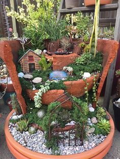 Having a suitable space means your kids can enjoy nature and fantasy in the backyard. You can make a fairy garden and give them a perfect reason to stay outdoors. Ensure to get the required fairy garden decorations so that everything is rightly set. Broken Pot Garden, Fairy Garden Pots, Indoor Fairy Gardens, Fairy Garden Houses, Diy Garden, Miniature Fairy Gardens, Garden Crafts, Garden Projects, Fairies Garden