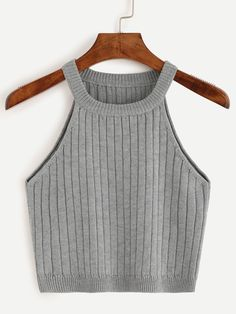 Online shopping for Grey Knitted Tank Top from a great selection of women's fashion clothing & more at MakeMeChic. Teen Fashion Outfits, Trendy Outfits, Summer Outfits, Girl Outfits, Women's Fashion, Mode Kpop, Belly Shirts, Vetement Fashion, Mein Style