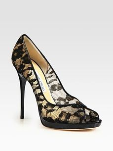 Jimmy Choo Blair Lace Covered Mesh and Patent Leather Pumps Saks com by Saks Fifth Avenue on HavetoHave.com