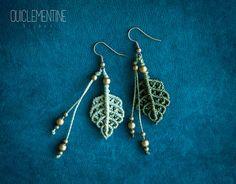 Leaf earrings, elf earrings, natural pendants, boho earrings, micromacrame accessory, gipsy jewelry, elven earrings, woman earrings