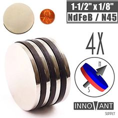 INNOVANT 4 Pack Neodymium Disc Magnets 1 12 d x 18 h N45 Grade Strong Permanent Rare Earth Magnets  Best for DIY Arts  Crafts Projects School Classroom Science Project  Office or Work Supply *** Click image for more details.