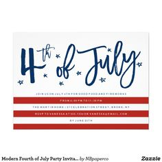 Modern Fourth of July Party Invitation