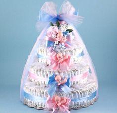 New Arrival!! Twin Boy & Girl Diaper Cake!