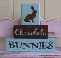 Chunky Wooden Blocks Easter Chocolate Bunnies