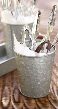 Cutlery essentials | galvanized cups and trays perfect for holding utensils (including those lobster claws)