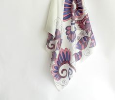 Violet  silk scarf . Hand painted silk scarf with by ArmeniaOnSilk
