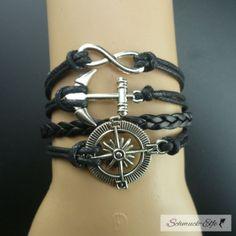 Armband Anker & Infinity  schwarz  im Organza Beutel