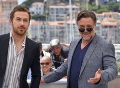 "Canadian actor Ryan Gosling (L) and New Zealander actor Russell Crowe pose on May 15, 2016 during a photocall for the film ""The Nice Guys"" at the 69th Cannes Film Festival in Cannes, southern France. / AFP / LOIC VENANCE"