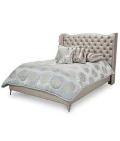 Hollywood Loft Frost White Queen Upholstered Bed