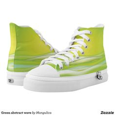 Green abstract wave printed shoes