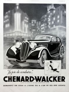 CHENARD WALCKER automobiles poster, original ad, vintage advertisement from 1936, Ideal Classic heating systems on the reverse side by OldMag on Etsy