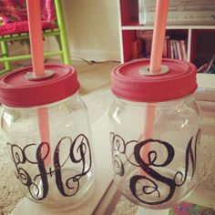 Sorority Sister drinking jars big and little by TheLittlestPig