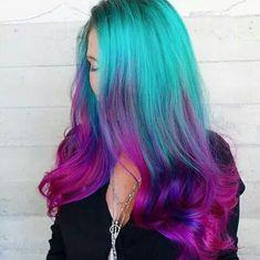 """Mermaid Hair"" Trend Has Women Dyeing Hair Into Sea-Inspired Colors - A Bright hair - Hair Designs Dyed Hair Pastel, Pink Ombre Hair, Violet Hair, Blue Ombre, Blue And Pink Hair, Hair Dye Colors, Cool Hair Color, Bright Hair Colors, Aqua Hair Color"