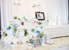 Decoration baby cradle for naming ceremony. Pelamin buaian berendoi, cukur jambul dan full pakej aqiqah.  Wasap 012-3550657 Wedding Event Planner, Wedding Events, Pelamin Simple, Cribs, Table Decorations, Furniture, Home Decor, Bebe, Cots