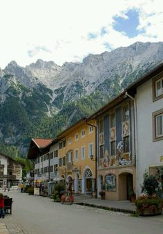 Mittenwald, Germany, in the Southern Bavarian Alps. (I think this type of village is what the town of Leavenworth in my home state modeled itself after.) Looks like a beautiful place!
