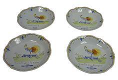 Quimper Rooster Plates from France, Set of 4 on OneKingsLane.com
