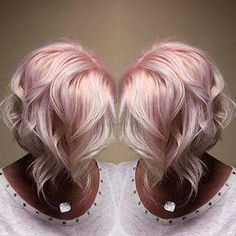 Blonde, pink, inverted bob
