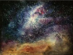 A second Starry night sky/Galaxy in watercolour by LydiaCmcC.deviantart.com on @DeviantArt