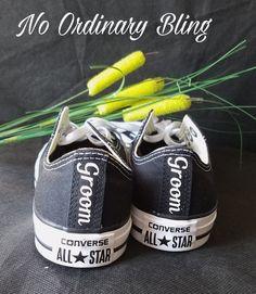 Custom Wedding Converse Low Black Big Font by NoOrdinaryBling