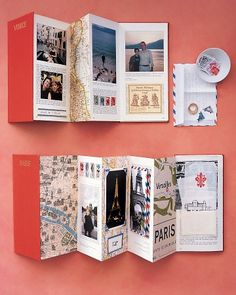 transform out-of-date travel books from visited cities into accordion travelogue scrapbook:  use the original covers, a few of the pages, and maps. Showcase photos from your trip, printed ephemera, biz cards, wine labels, cafe napkins, and sightseeing scraps.