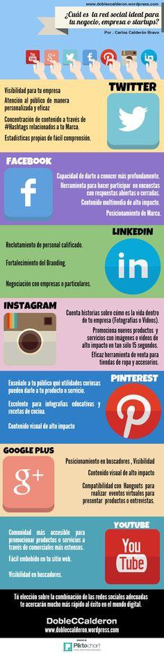 Cual es la Redes Social ideal para tu empresa #infografia #infographic #socialmedia