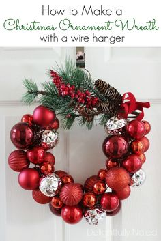 Christmas Ornament Wreath Using a Wire Hanger