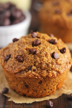 Chocolate Chip Banana Bran Muffins via @amybakeshealthy// #banana #muffins #baking