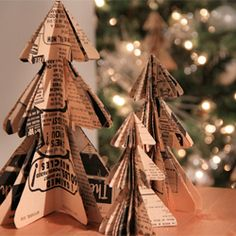 DIY mini christmas tree ornaments crafted from your favorite vintage paper