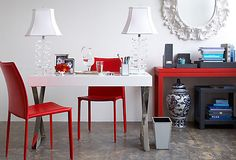 modern romance. Red and white office. Chic!