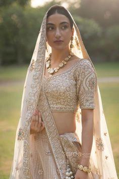 Buy Cream Raw Silk Lehenga Choli with Double Dupatta @ the best price from saree.com by asopalav Raw Silk Lehenga, Bridal Lehenga Choli, Sari, Indian, Crop Tops, Cream, Skirts, How To Wear, Women