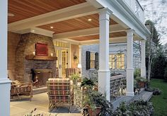Cottage Porch with French doors, exterior tile floors, Screened porch, Transom window, Pathway