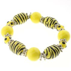"""Yellow and Black Tiger Stripe Animal Print Fashion Bracelet in Round and Oval beads - 8"""" Length Bracelets - Fashion Jewelry. $11.95"""