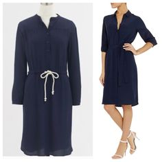 J. Crew Navy Shirtdress with waist tie This is just a super cute and easy piece! Look effortless and be comfortable! This is very versatile, wear it out for dinner, running errands, or to the beach! Great piece to have! Brand new with tags and retails for $98! Size XS but could also fit a S  pictures don't do this justice, it is so darling on!! J. Crew Dresses