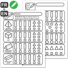 Learning French For Kids, Kids Learning, Amelie Pepin, Plane Figures, 2nd Grade Math, Grade 2, Elementary Math, Learn French, Math Games