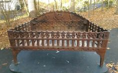 Howes Antique Cast Iron FIREPLACE COAL BASKET insert WOOD LOG GRATE V fire box #SMHowesBostonMA