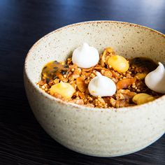 Coconut infused muesli, lemon curd, crispy meringue, passionfruit, walnut and puffed quinoa.  Located at Pinkie Cafe in Ivanhoe, Victoria, Australia.   Check out our Instagram page via the link below, we #pinkiepromise you won't regret it. Puffed Quinoa, Victoria Australia, Lemon Curd, Muesli, Meringue, Oatmeal, Coconut, Breakfast, Link