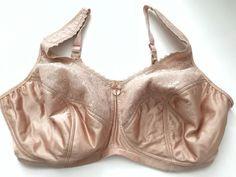 Glamorise Bra 48F Plus Size Wire Free Lined Nude Lace Supportive Full Coverage | eBay